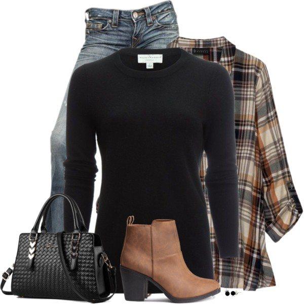 plaid shirt black jumper casual cute fall outfit polyvore bmodish