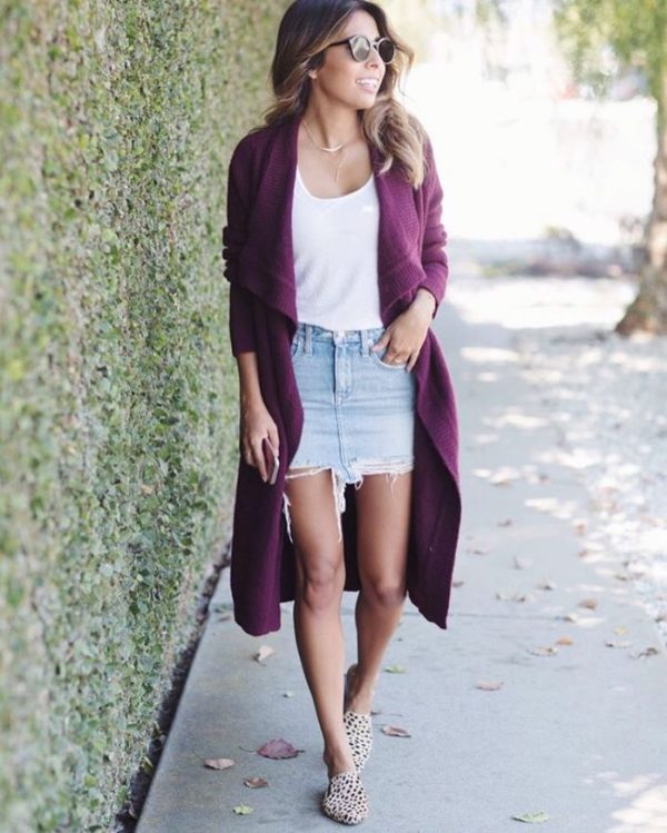 purple long cardigan spring outfit bmodish