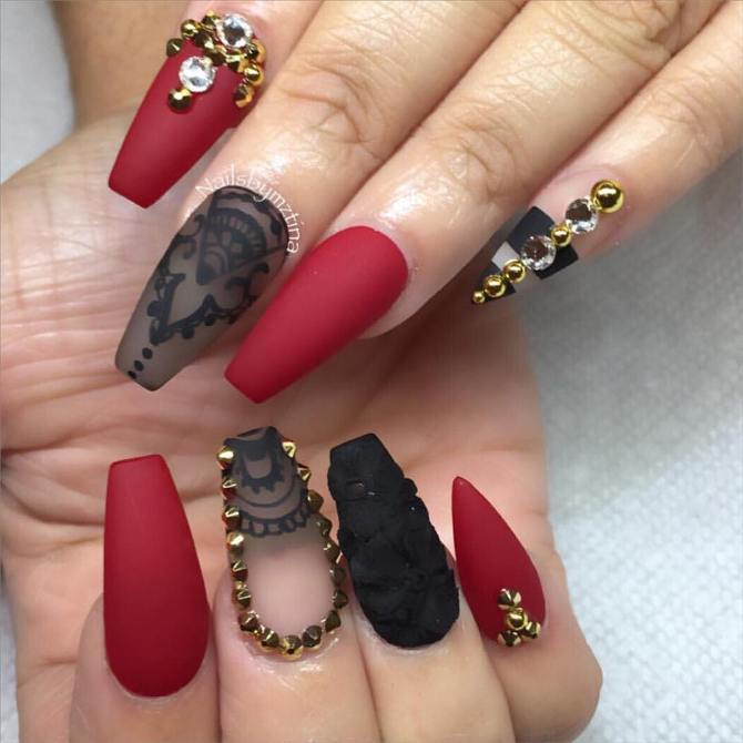 red and black ballerina coffin nails bmodish