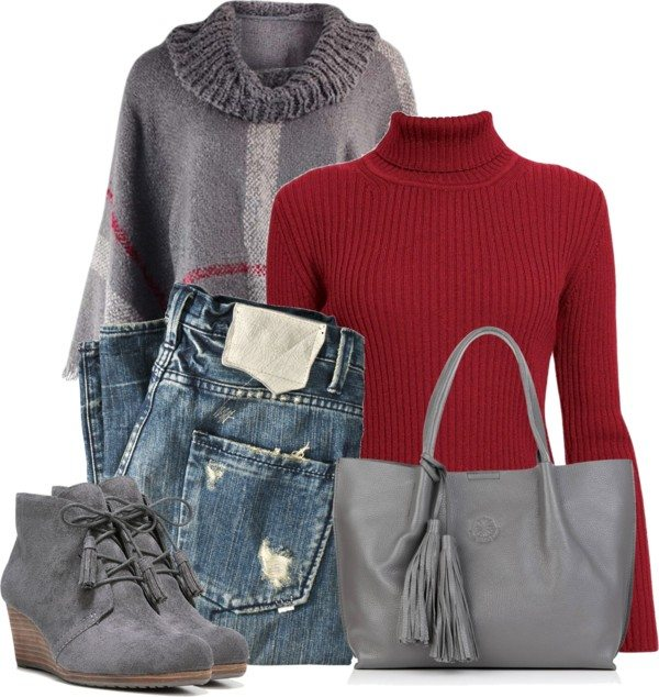 red and grey casual fall outfit polyvore bmodish