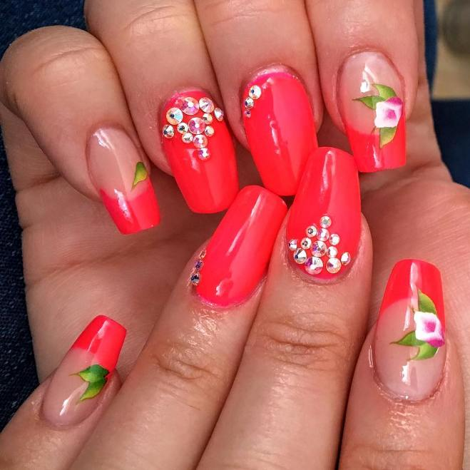 red floral summer ballerina nails bmodish