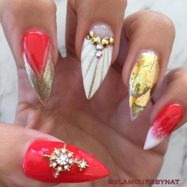 red gold summer pointy nail art bmodish