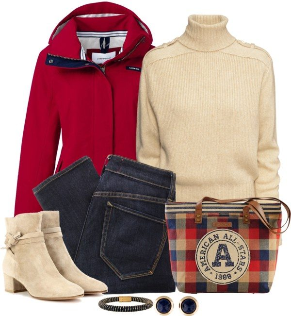 red jacket with turtleneck sweater casual fall outfit polyvore idea bmodish