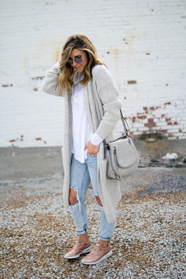soft grey cardigan for fall outfit bmodish