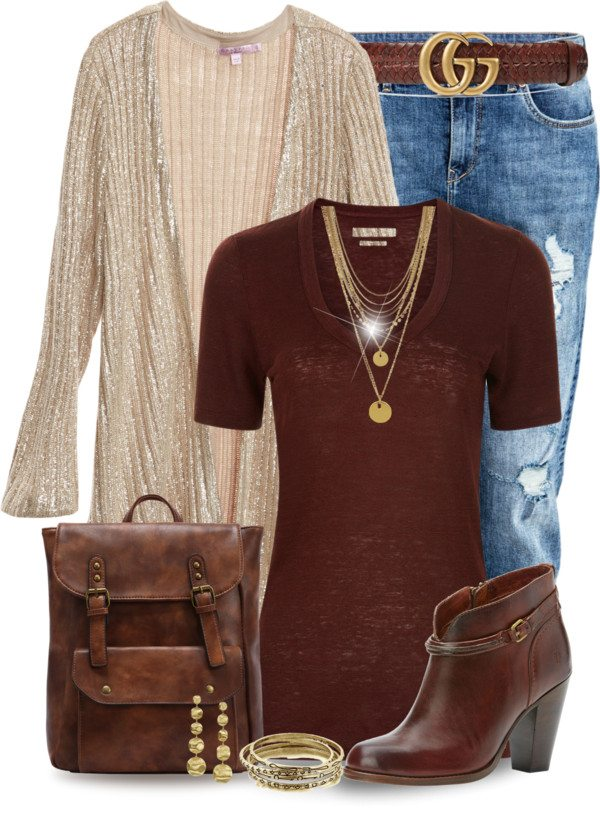 sparkling cardigan cognac jumper fall outfit polyvore bmodish