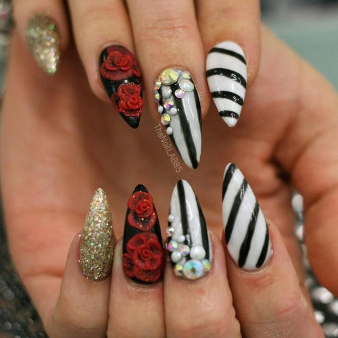 stripe black and white stilleto nails bmodish