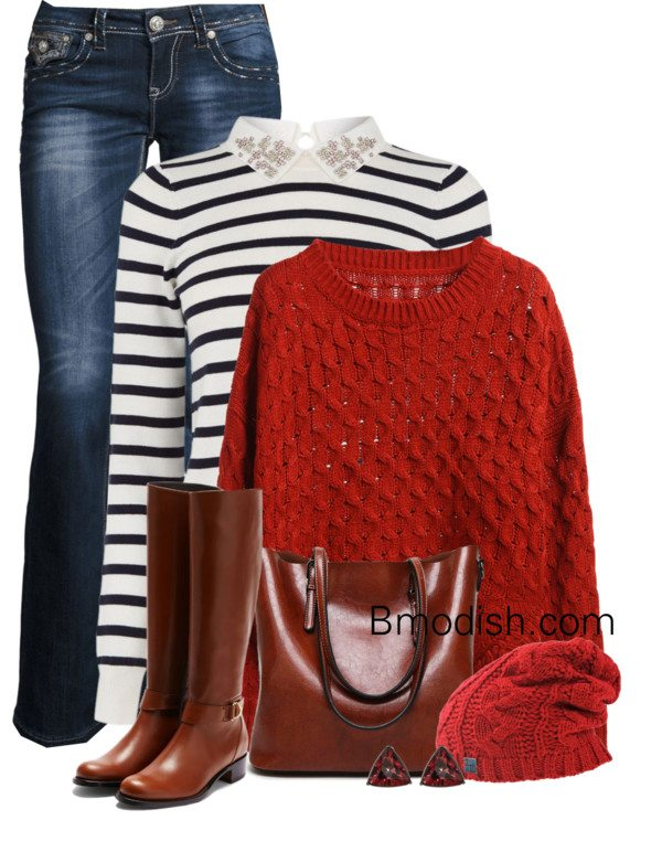 striped sweater with eyelet sweater polyvore fall outfit bmodish