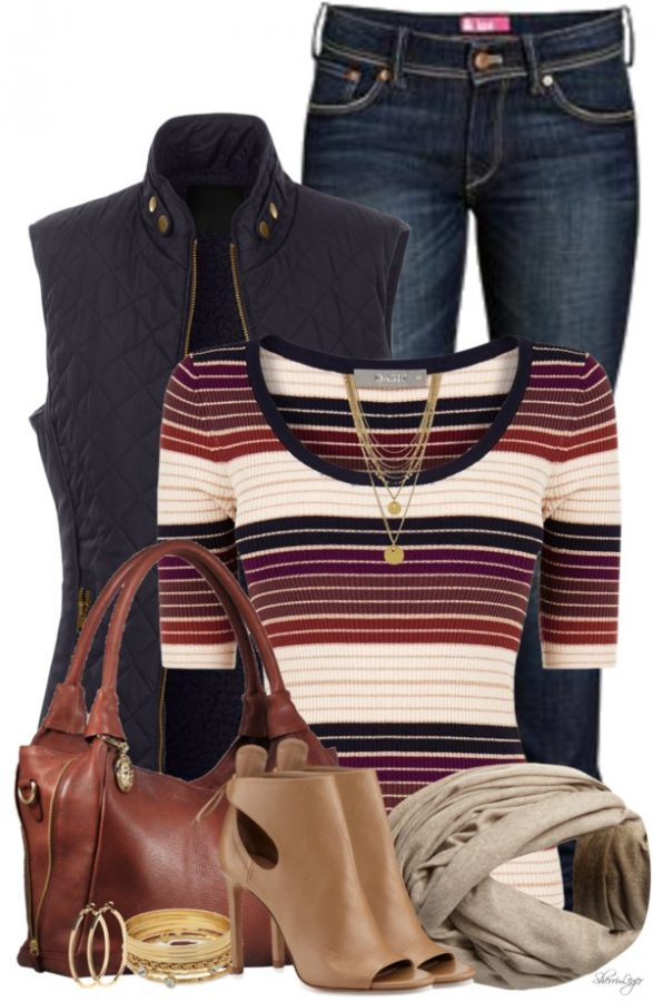 striped sweater with navy faux puffer vest fall polyvore outfits bmodish