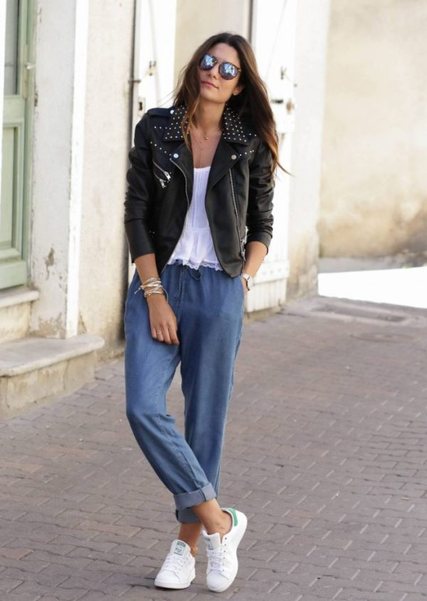 studded biker jacket with jogger denim pants bmodish