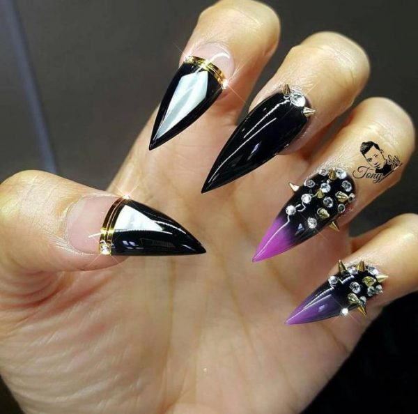 studded stilleto nail design bmodish