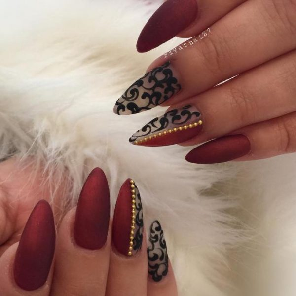 red pointy nail designs bmodish