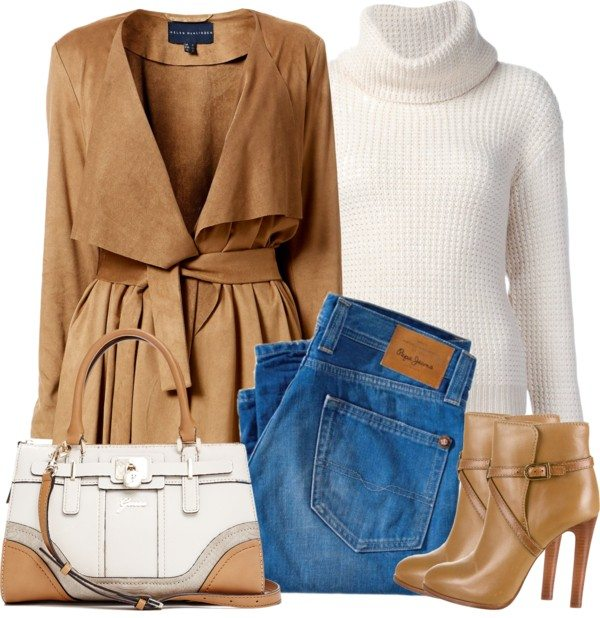 suede drape coat stylish fall outfit polyvore bmodish