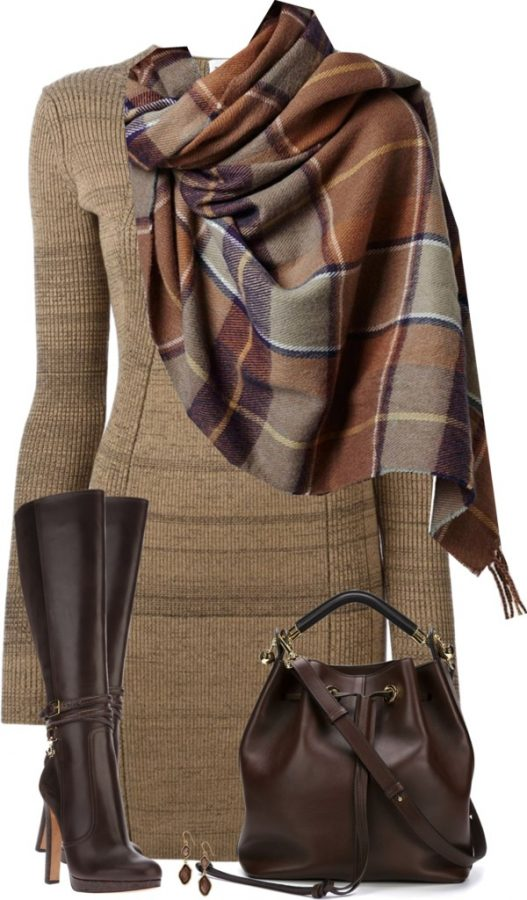 sweater dress with plaid scarf and tall boots fall outfit polyvore bmodish