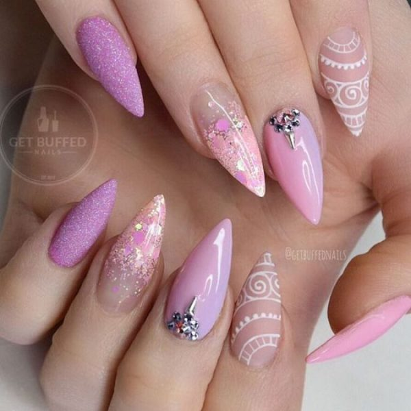 sweet lavender stilleto nail art bmodish
