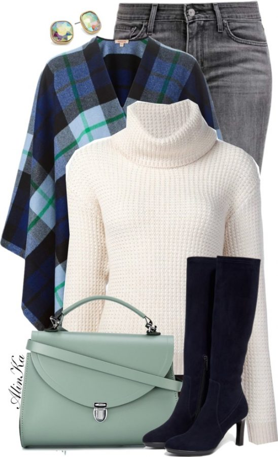 turtleneck jumper with plaid poncho fall outfit polyvore bmodish