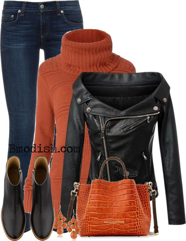 turtleneck long sweater with leather jacket fall polyvore outfit