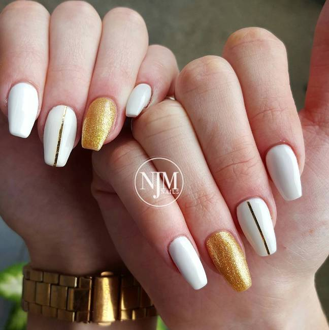 white and gold glitter ballerina nail art bmodish