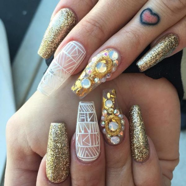 white and gold ballerina nails bmodish