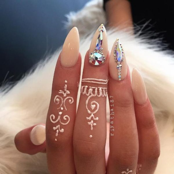 white cream embellished pointy nails bmodish
