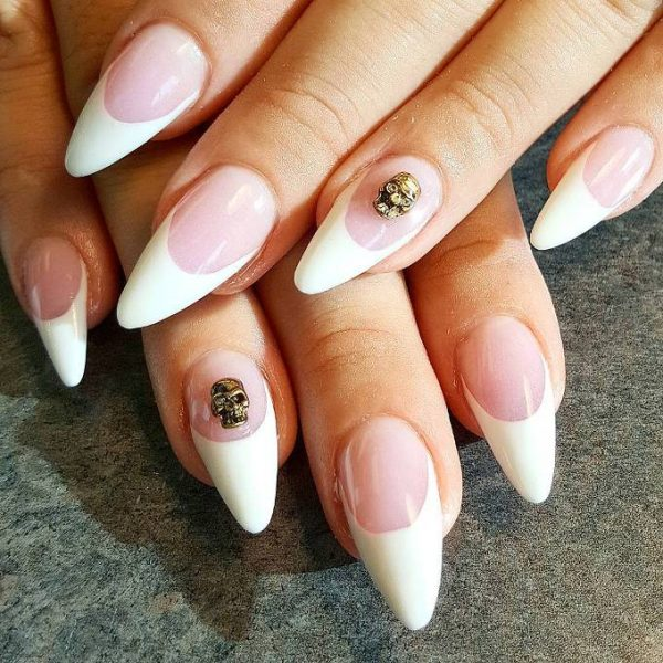white french pointy nails bmodish