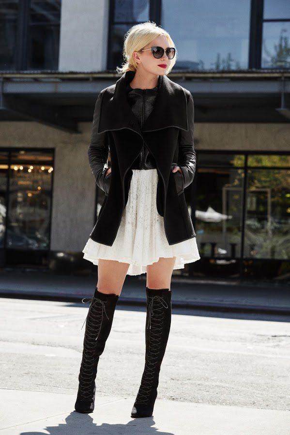 white skirt moto jacket and knee high boots fall fashion bmodish