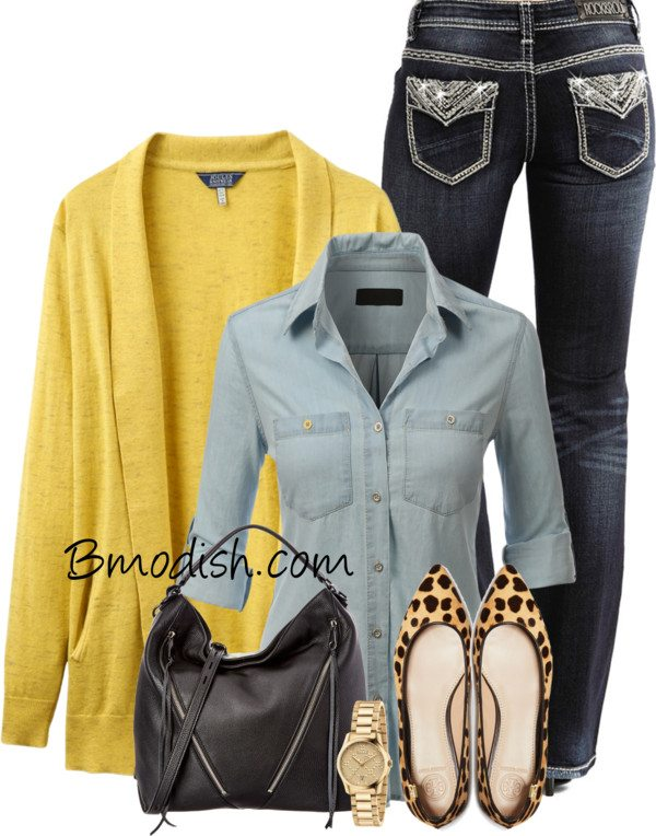 yellow cardigan casual polyvore fall outfit bmodish