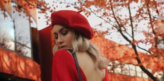 red knotty sweater with red beret fall fashion bmodish 2