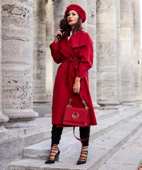 red trench coat with red beret outfit bmodish