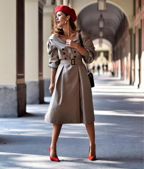 trench coat dress with red beret fall style bmodish 2