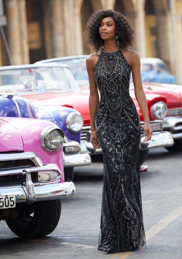 Beaded Lace Black Prom Dress Mori Lee Bmodish