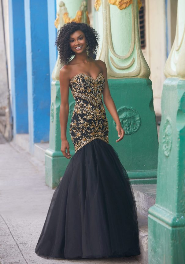 Beaded Tulle Black Mori Lee Prom Dress Bmodish
