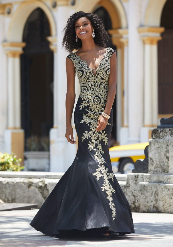 Black Embroidered Mori Lee Prom Dress Bmodish