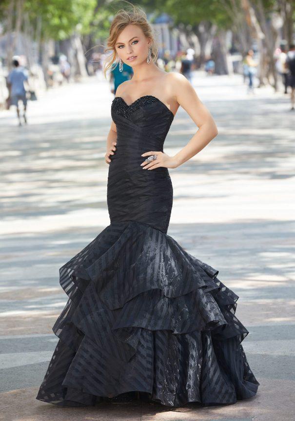 Black Satin Mori Lee Mermaid Prom Dress Bmodish