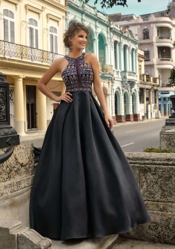 Black Satin Prom Dress Mori Lee Bmodish