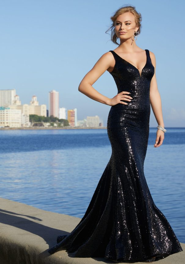 Black Strech Sequin Mori Lee Prom Dress Bmodish