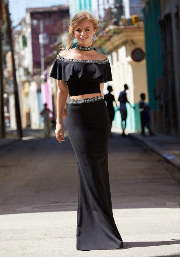 Black two pieces mori lee prom dress bmodish