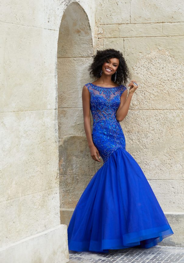 Blue Beaded Mori Lee Mermaid Prom Dress Bmodish