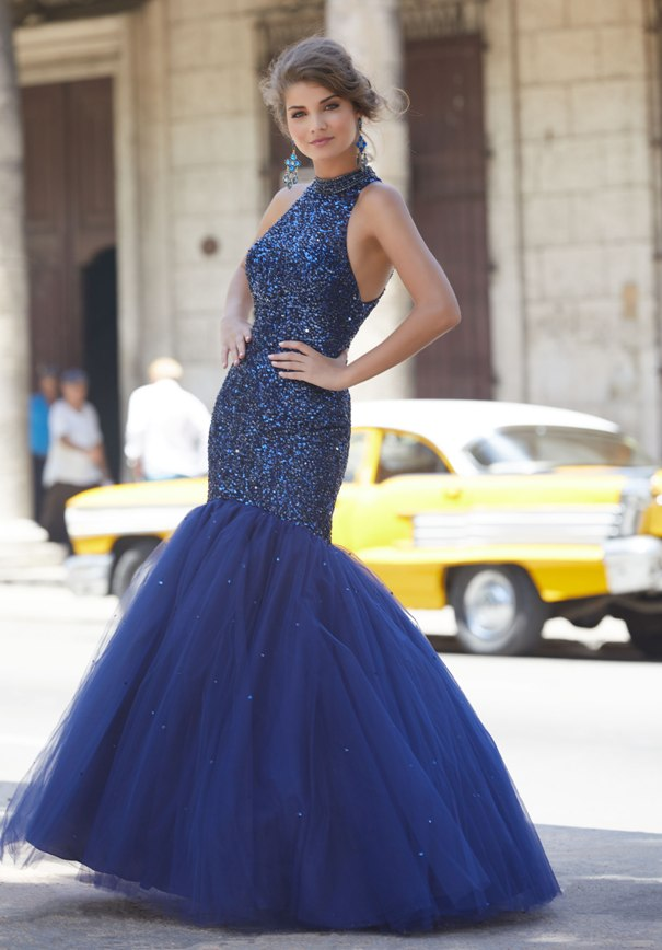 Blue Organza mori lee prom dresses 2018