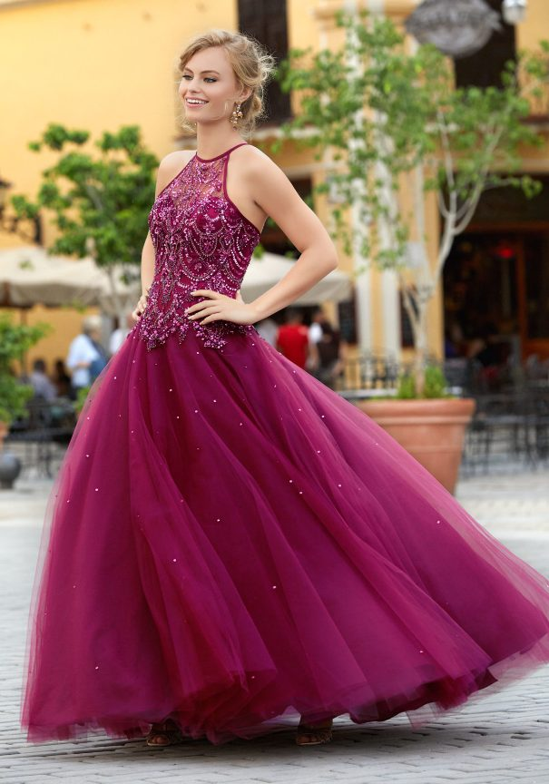 Burgundy Tulle Prom Dress Bmodish