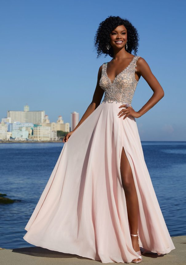 Chiffon A-Line Mori Lee Prom Dress with High Side Slit Bmodish
