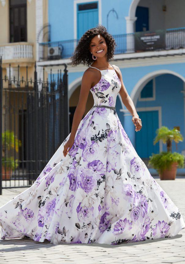 Floral Satin Mori Lee Prom Dresses Bmodish