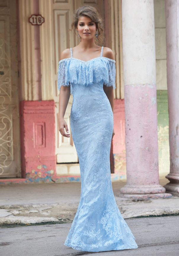 Full Length Blue Lace Prom Dress Mori Lee Bmodish