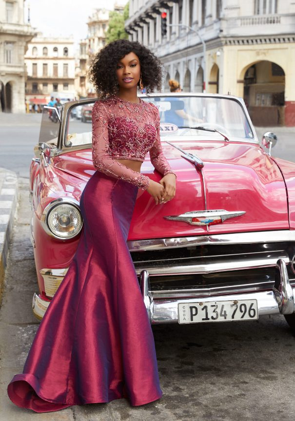 Long Sleeve Two Piece Prom Dress Bmodish