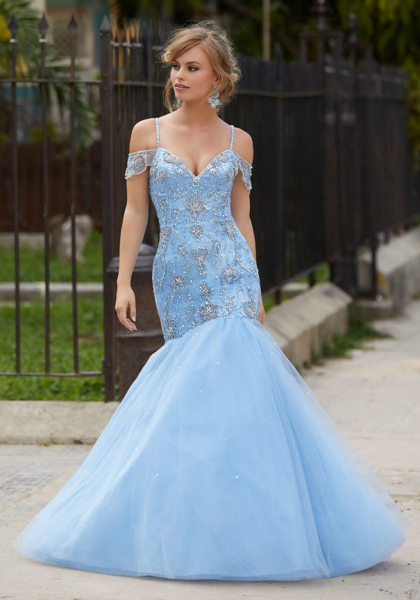 Mori Lee Blue Beaded Mermaid Prom Dress Bmodish