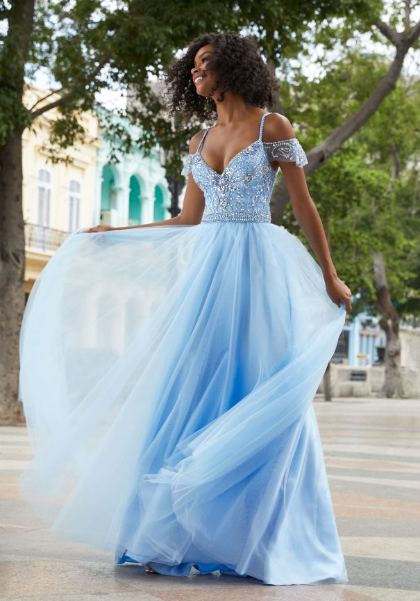 Mori Lee Blue Soft Net Prom Dress Bmodish