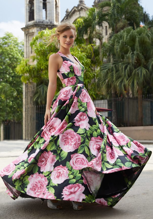 Mori Lee Floral Printed Satin A-Line Prom Dress Bmodish