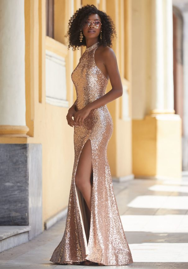 Mori Lee Gold Sequin Prom Dress Bmodish