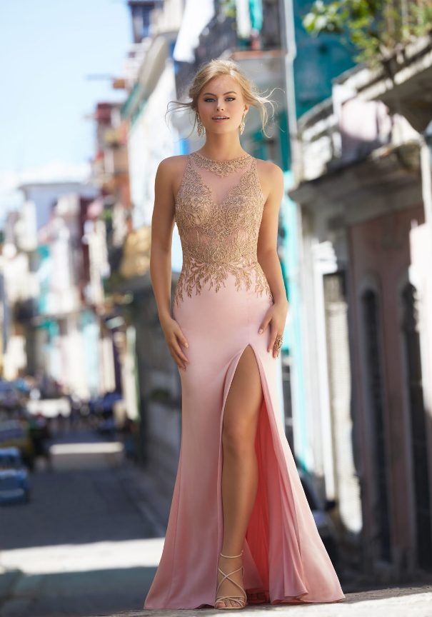 Mori Lee Pink Embroidered Prom Dress Bmodish