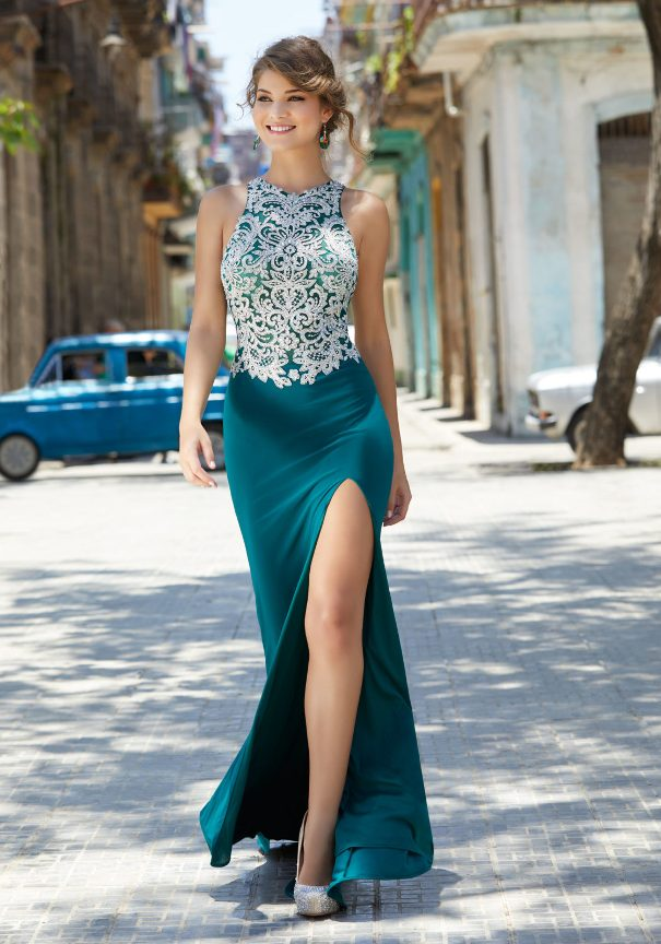 Mori Lee Prom Dress with High Slit Skirt Bmodish