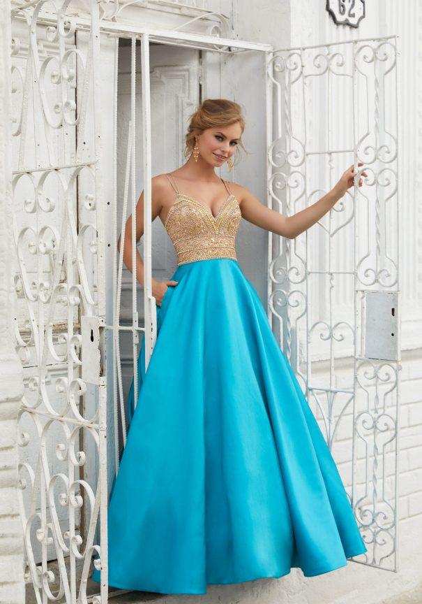 Mori Lee Satin A-Line Prom Dress Bmodish